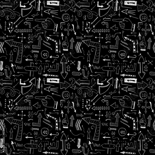 Hand drawn arrows. Seamless pattern