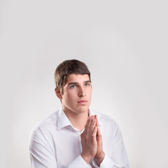 portrait young man  praying