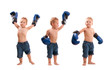 Young kid with boxing gloves in winning poses