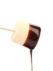 Marshmallow with chocolate dripping.