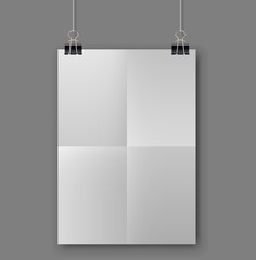Blank folded white sheet of paper template