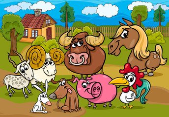 farm animals group cartoon illustration