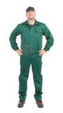 Worker in green workwear. poster