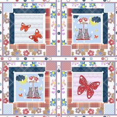 Patchwork for kids with butterflies and cats