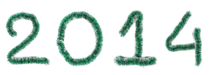 Christmas green tinsel of 2014 year.