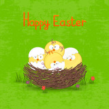 Happy Easter card template, basket with  eggs