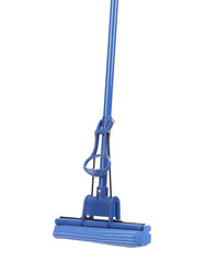 Close up of blue mop with sponge.