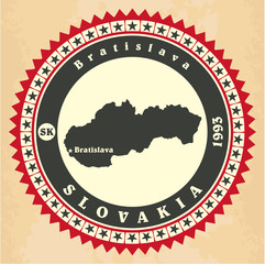 Vintage label-sticker cards of Slovakia