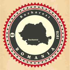 Vintage label-sticker cards of Romania