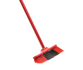Close up of red black broom.