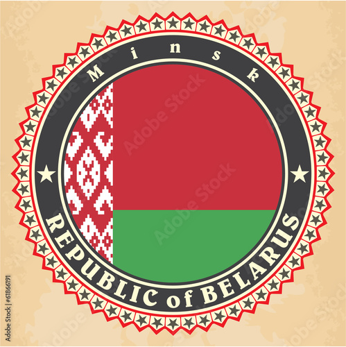 Vintage label cards of Belarus flag