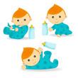 baby boy action - vector  illustration