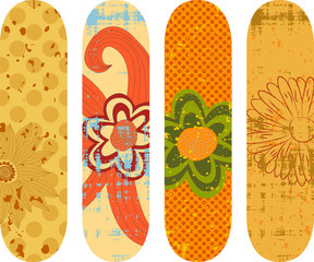 Skateboard designs with hand drawn flowers