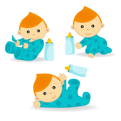 baby boy action - vector  illustration