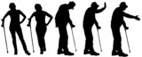 Vector silhouette of the old people.