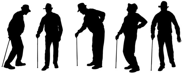 Vector silhouette of the old man.