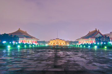 a view to Beautiful sunset over the National Taiwan Democracy Sq