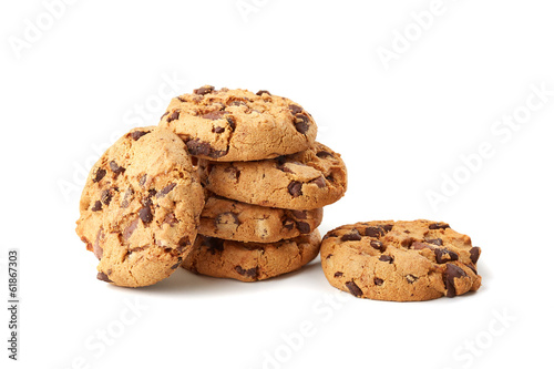Foto Spatwand Koekjes chocolate cookies on white