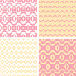Vector set of four tribal pink and yellow abstract geometric