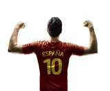 Spanish soccer player celebrates on white background
