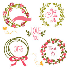 Wedding graphic set, wreath, flowers, arrows