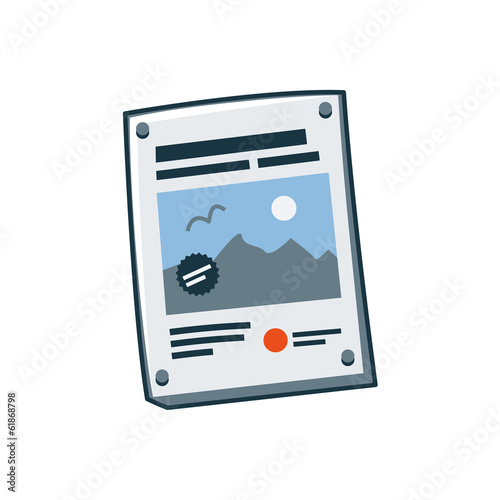 Isolated simplified poster icon in cartoon style.