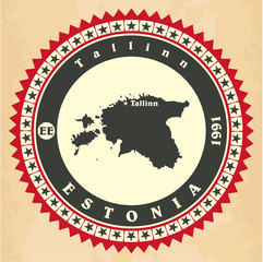 Vintage label-sticker cards of Estonia.