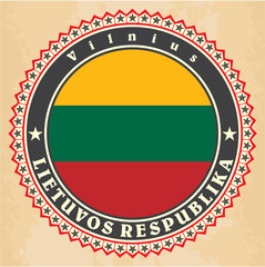 Vintage label cards of  Lithuania flag.