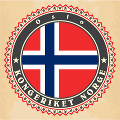 Vintage label cards of  Norway flag
