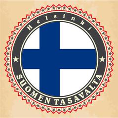 Vintage label cards of  Finland flag.