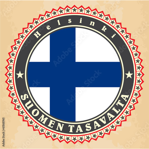 Vintage label cards of  Finland flag.
