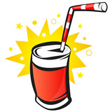 Red Bank with soda, cartoon, vector