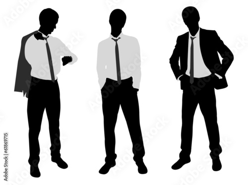 young businessman standing - vector