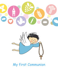 boy first communion card. Angel