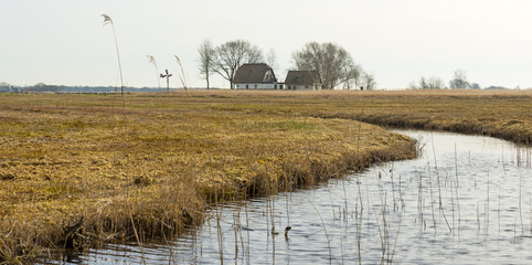 House along a river through wetland in winter