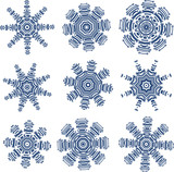 Set of snowflakes in PCB-layout style
