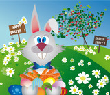 easter bunny with easter eggs and c arrots to donate
