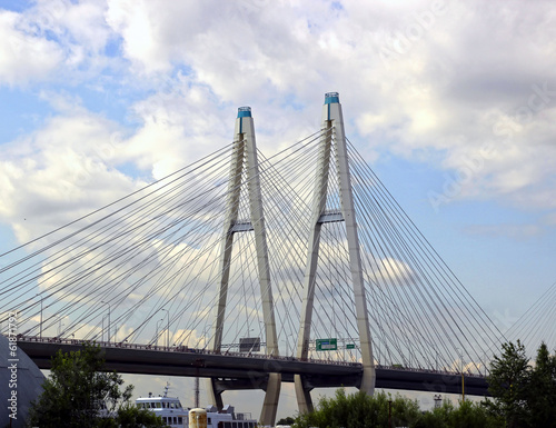 Large Obukhov cable-stayed bridge across the Neva River in St. P