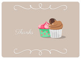 thanks, greeting card with two creamy cupcakes isolated