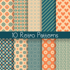 Retro abstract vector seamless patterns