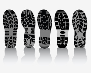 Illustration of various prints of shoes, vector