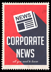 Corporate News on Red in Flat Design.