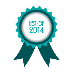 best of 2014 badge with ribbon,vector design, EPS10