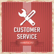 Customer Service Concept on Red in Flat Design.