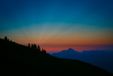 surreal and colorful sunrise in austrian alps
