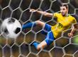 Brazilian soccer player in the jump kicks the ball