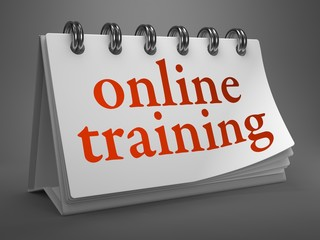 Online Training -Red Word on Desktop Calendar.