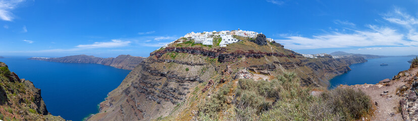 greece Santorini island in cyclades traditional panorama view of