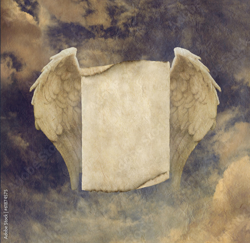 Antique Effect Parchment Angel Wings Sign