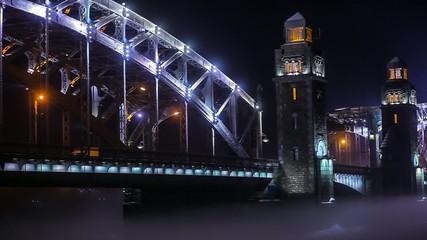 Bolsheohtinsky bridge, Neva river, Saint-Petersburg, Russia